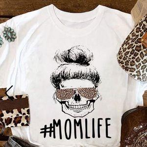 Tops - Mom Life Top Bun Skull White Sz Large Soft TShirt